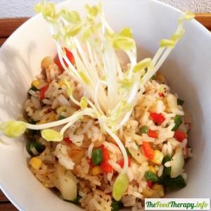 arroz y brotes