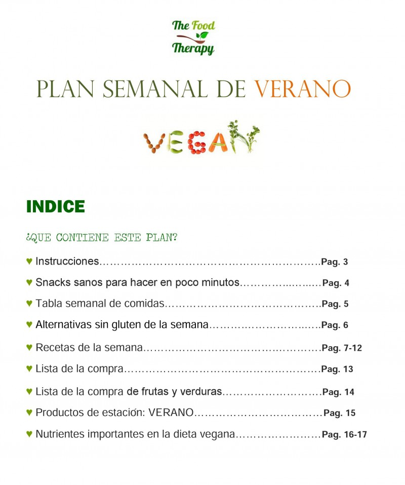 Plan semanal vegano de verano the food therapy for Menu semanal verano