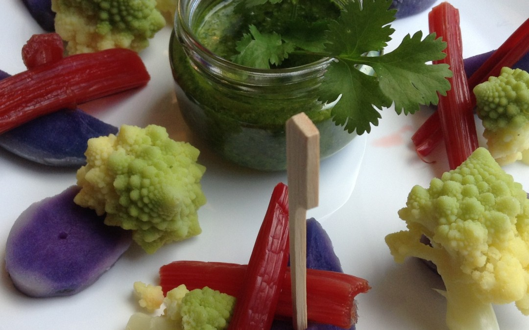 Fantasía de verduras con mojo de cilantro