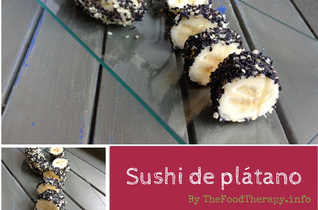 Sushi de plátano y sésamo